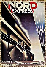 NORD Express Treno Ferroviario europeo Poster Artistico da viaggio