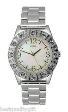 NEW-GUESS SILVER TONE STAINLESS STEEL,MOP DIAL+CRYSTALS LADY WATCH-G86060L