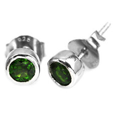 Natural CHROME DIOPSIDE Stones Sterling 925 Silver Stud EARRINGS UNISEX MEN's