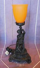ANCIENNE LAMPE ELECTRIFIEE EN REGULE ENFANT ET TULIPE EN PATE DE VERRE ORANGE