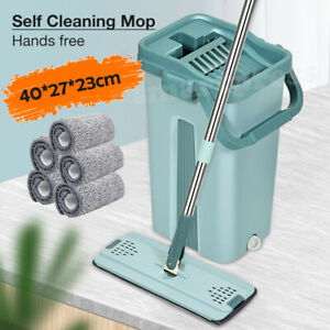 Self Cleaning Mop Bucket Hands Free Squeeze Drying Wash Microfiber Clean Pads