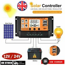 30/50/100A LCD MPPT/PWM Solar Panel Battery Regulator Charge Controller Dual USB