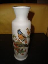 """Chinese Floral Bird White Porcelain Vase 8"""" Tall Excellent Condition"""