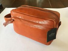 *NWT* Savile Row London Cognac Real Leather Toiletry Travel Bag Pouch // Gift