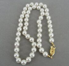 "Faux Pearl Goldtone Clasp Strand NECKLACE 18"" Long"