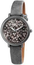 Damen Armbanduhr Grau/anthrazit Blumenmuster Kunstlederarmband Von Excellanc