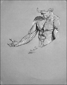 """nude/ drawing male/charcoal/original/""""The Gesture"""" by Earle Jay Goodman"""