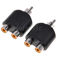 2pcs 1/One Male To Two/2 Female RCA AV Y Splitter Audio Cable Adapter Connector