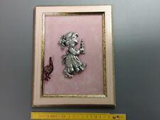 ancien Cadre déco mural petite fille a la bougie étain du prince