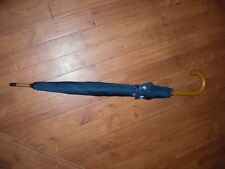 NEW HARD TO FIND FAIRFAX & FAVOR LARGE BLUE UMBRELLA BROLLY.WOODEN HANDLE RARE!