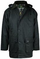 Mens New Countryman Padded Cotton Wax Hooded Jacket Top Hunting Fishing Farming