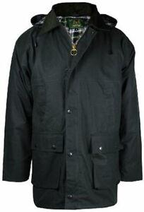 Mens Countryman Padded Cotton Wax Hooded Hunting Fishing Farming Jacket Top Coat