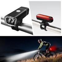 Bicyclette Vélo Feu Arrière éclairage+Avant Phare Lampe LED USB Rechargeable FT2
