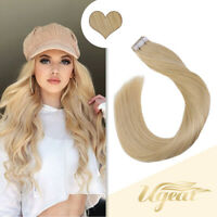 Ugeat 50g 20Pcs Double Sided Tape in Remy Human Hair Extensions Light Blonde 24#