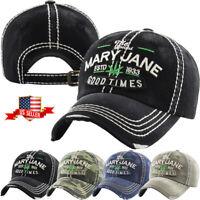 Leaf Marijuana Mary Jane Vintage Distressed Baseball Cap Dad Hat Adjustable