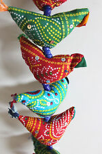 Indian Traditional 15 Fabric Birds Tota Door Hanging String Decoration Ornaments