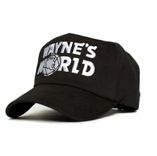 New WAYNES WORLD TRUCKER Mesh Costume Embroidery Black Cap Hat 90's Party
