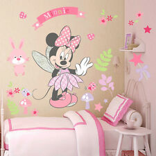 DISNEY Minnie Mouse Adesivi da parete, Nursery, ROSA, FIORI, Fata, Farfalla ARTE