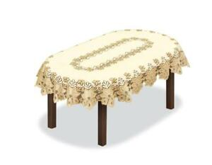 """Fancy oval lace cream/dark gold Tablecloth NEW 51""""x71"""" (180x130cm) perfect gift"""