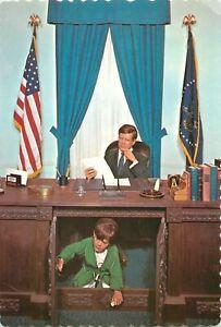 "President John F. Kennedy Postcard 6""x4"" Son John-John Under Desk Oval Office"