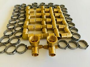 """(62 PCS) 3/4"""" PEX CRIMPING FITTINGS  2 DROP-EAR ELBOWS with  TEE, COUPLING ELBOW"""