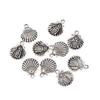 10pcs Clam shell seashell Tibetan Silver beads charms pendant Fit Bracelet