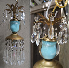 1o5 Vintage Turquoise aqua blue glass globe tole Brass SWAG lamp mini chandelier