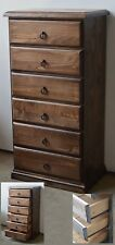 BANKSIA ASSEMBLED TIMBER TALLBOY SLIM LINGERIE CHEST OF 6 DRAWERS IN SMOKEY ASH