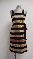Fabulous Ashish dress black chiffon with multi gold tone sequin stripe M UK6 US2