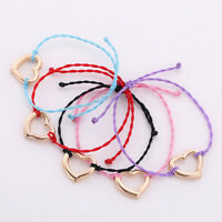Handcraft Exquisite Silver Tone Love Heart Charm Wax Cord Gift Bracelet for Girl
