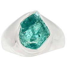 Neon Blue Apatite Rough 925 Sterling Silver Ring Jewelry S.8 NBAR27