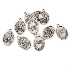 First holy communion oval Tibetan Silver Bead charms Pendants fit bracelet 10pcs