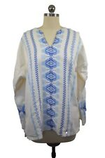 Mexican Embroidered Ivory Aztec Baha Unisex Tunic Shirt Size L-XL Beach