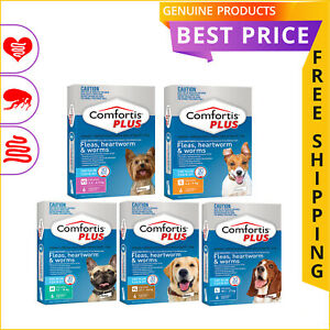 COMFORTIS PLUS 6 Doses for Dogs Flea Heartworm Worm Prevention All Sizes