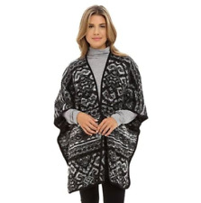Lucky Brand Blanket Poncho Women's One Size Black Multi Tie Front