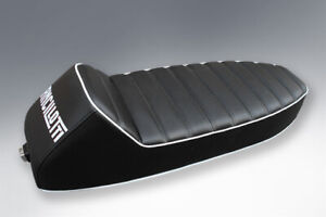 VESPA SEAT SLOPE BACK WITH ANCILLOTTI LOGO IN BLACK WITH WHITE PIPING