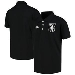 Aston Villa Polo Shirt Kid's Kappa Football Peglio Polo Shirt - Black - New