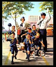 "VINTAGE 1960 ""SAFETY FIRST"" POLICEMAN-CUB SCOUT DEN MOM ART PRINT BY ART FRAHM"