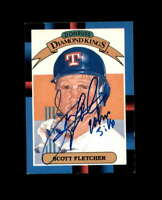Scott Fletcher Signed 1988 Diamond Kings Texas Rangers Autograph