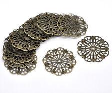 50 Bronze Tone Flowers Filigree Charms Hollow Wrap Connectors Embellishment 41mm