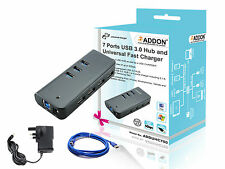 Addon ADDUHC700 7 Ports USB 3.0 Hub and Universal Fast Charger UK Power Adapter