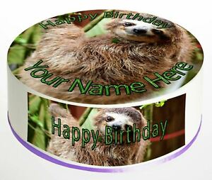 Cake Topper Birthday Baby Sloth personalised Rice paper,Icing fondant Sheet 1023