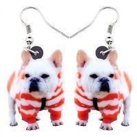Earrings Women Acrylic Sweet French Bulldog Terrier Big Long Dangle Drop Jewelry