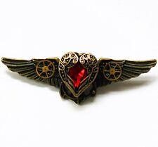 steampunk punk collar brooch pin badge red heart wings gear girl women jewelry