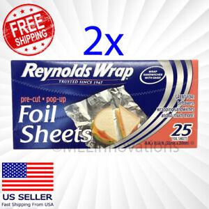 "Reynolds Wrap Wrappers Foil Sheets Pre Cut Pop Up 50 Count 14"" x 10.25"" 2x 25ct"