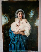 Antique Style Oil Painting Portrait Madonna & Children Religious Art Signed O/C