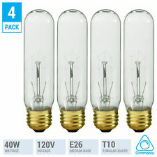 (4 Pack) Tubular Incandescent Bulbs 40T10/CL 120V 40W Watt T10 Medium E26 Clear