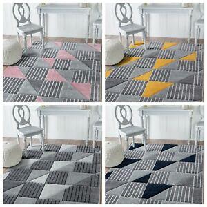 NEW DESIGN Blush Pink Yellow Ochre Navy Blue Silver Grey Rugs Living Room Rug