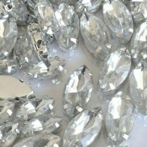 7x15mm 5x10 Horse eye Crystal Clear Silver Claw sew-on Rhinestones Appliques