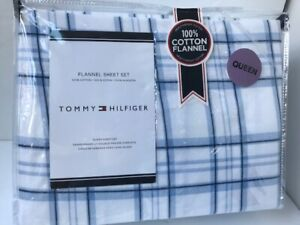 Tommy Hilfiger Blue & White Plaid 4pc Queen FLANNEL SHEET SET 100% Cotton NEW